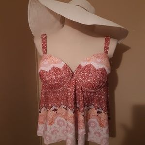 "NWT ""Swimsuits for all"" Flowy tankini Swimwear top"